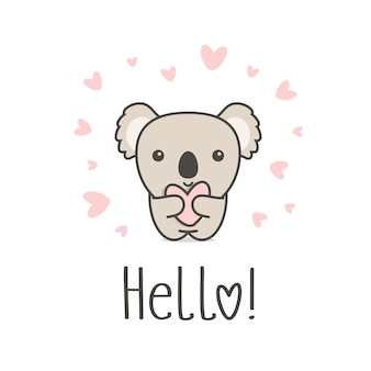 Cute animal with heart and hello text. smiling koala holding heart on white