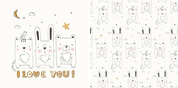 Cute animal with hearts set seamless pattern hand drawn vector illustration can be used