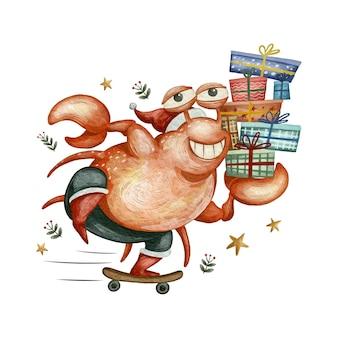 Милое животное с скейтбордом и разносом подарков сладкое рождество акварельные иллюстрации
