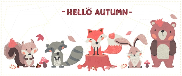 Cute animal woodland happy autumn fox, beaver, squirrel, rabbit and bear set idea for banner and printing greeting card