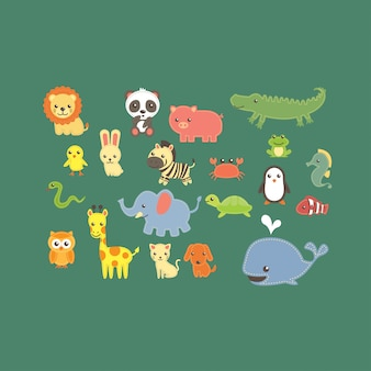 Cute animal zoo collection vector