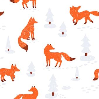 귀여운 동물 완벽 한 패턴입니다. 삽화. 겨울 숲에서 여우와 함께.