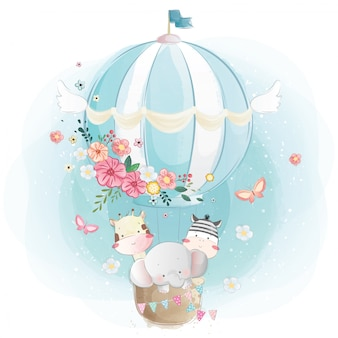 Cute animals in the air balloon