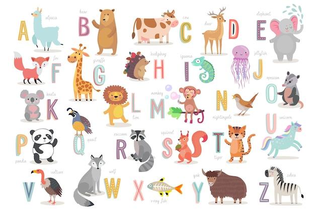 아이들 교육을위한 귀여운 동물 알파벳