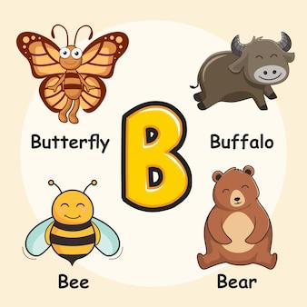 Cute animals alphabet letter b