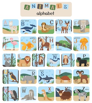 Cute animals alphabet