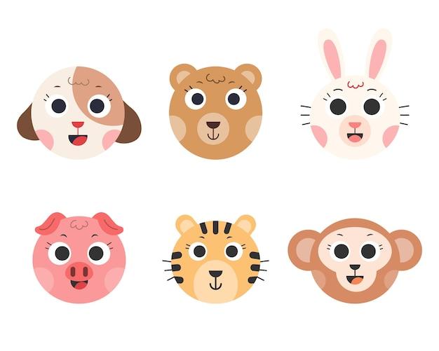 かわいい動物。動物漫画の顔。犬、熊、ウサギ、豚、虎、猿。図。