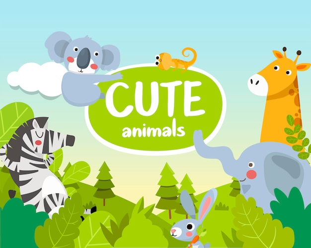 Cute animals. animals of the jungle