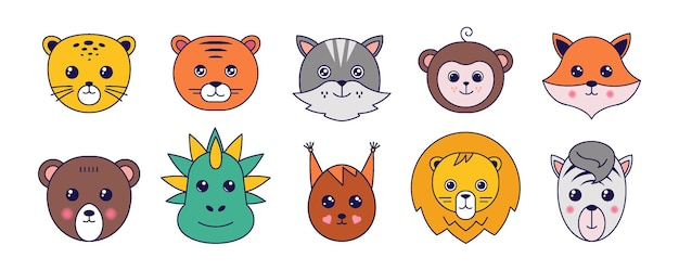 Милые животные. коллекция аватаров животных из азиатской манги, милые домашние животные с забавными лицами. векторная коллекция иллюстраций шаржа обращается кошка тигр лев и символы смайлика обезьяны