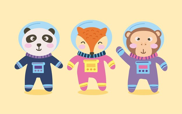 Cute animals astronauts characters group