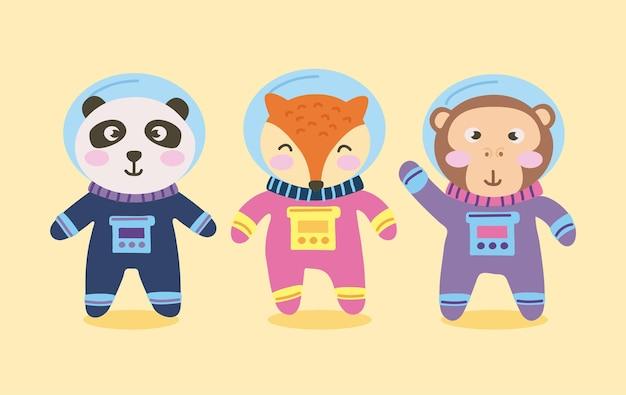 귀여운 동물 우주 비행사 캐릭터 그룹