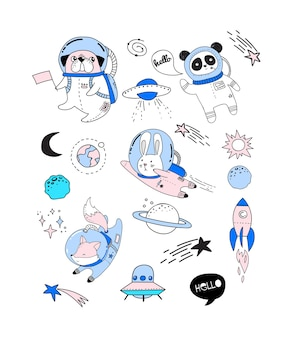 Cute animals astronauts in helmets - perfect for nursery designs, kids room, fabric, wrapping