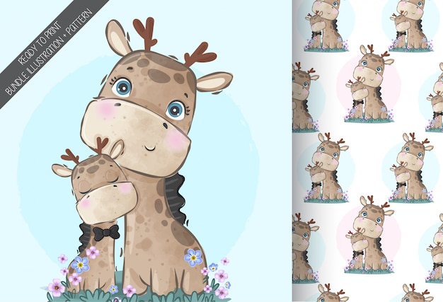 Cute animals baby giraffe family with seamless pattern