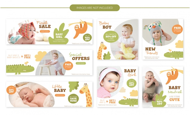 Cute animals baby sale banners set