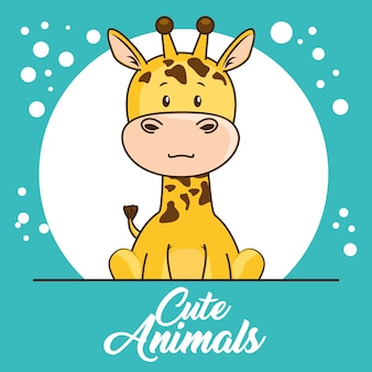 귀여운 동물 베이비 샤워 카드