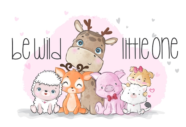 Cute animals baby wild family illustration for kids
