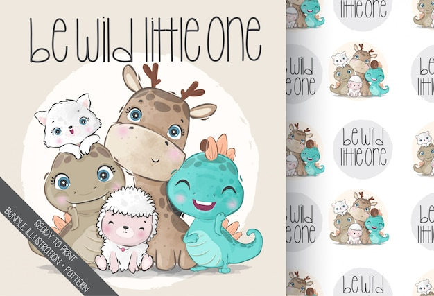 Cute animals baby wild family with seamless pattern