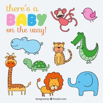 Cute animals for baby Premium Vector