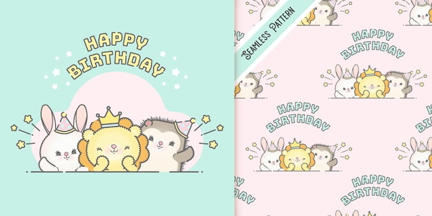 Cute animals birthday card template and pattern premium