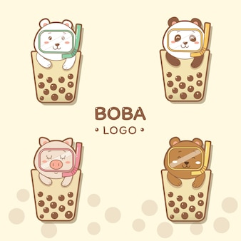 Cute animals boba logo cartoon hand draw.