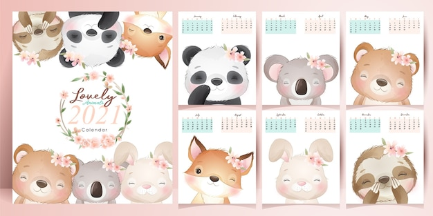Cute animals calendar for year  collection
