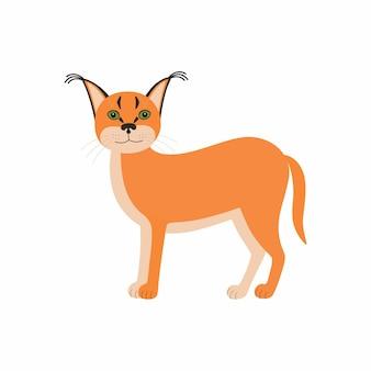 かわいい動物のカラカル。白い背景で隔離の漫画の野生の猫。アフリカの動物の野生生物