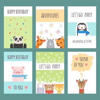 Cute animals cards. design with baby wild animals kids shower labels poster placards vector.