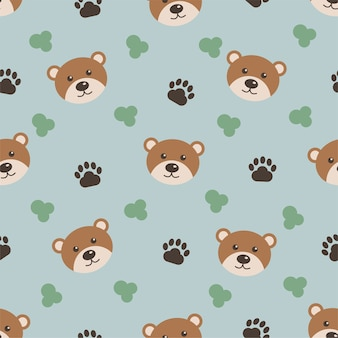 Cute animals, cartoon bear, seamless pattern for kids. background for printing on children clothing.