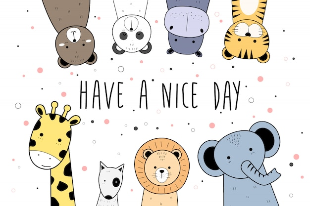 Cute animals cartoon doodle banner background wallpaper