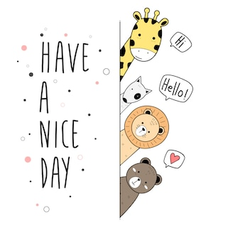 Cute animals cartoon doodle card poster wallpaper