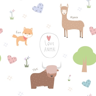 Cute animals cartoon doodle seamless pattern