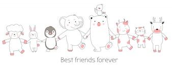 Cute animals cartoon hand drawn style