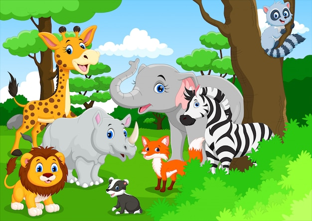 Cute animals cartoon in the jungle