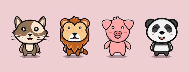 かわいい動物漫画ライオン豚パンダと猫