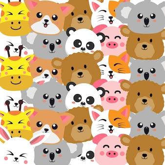Cute animals cartoon seamless pattern
