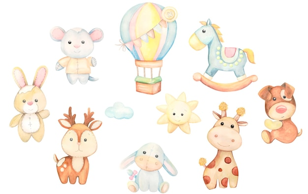 Cute, animals, in a cartoon style. a set of watercolor toys, on an isolated background.