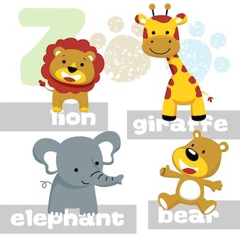 Cute animals cartoon vector, giraffe, lion, bear, elephant