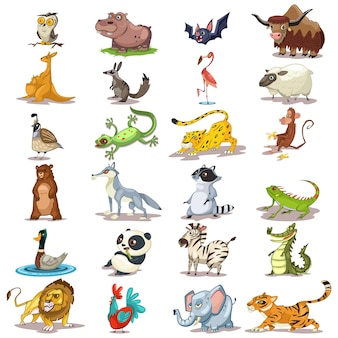 かわいい動物の漫画のベクトル。哺乳類、爬虫類、鳥の動物園セット。ライオン、トラ、象、パンダ、猿、クマ、フクロウ、コウモリの白い背景で隔離のキャラクターイラスト。