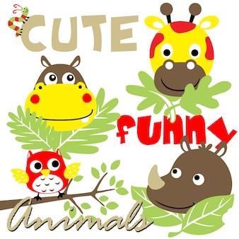 かわいい動物の漫画ベクトル