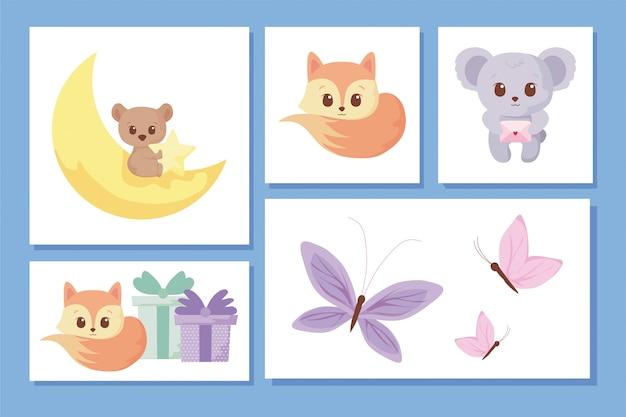 Cute animals cartoons icon set
