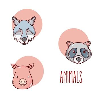 Симпатичные животные мультфильмы в круглых символах векторной иллюстрации графический дизайн