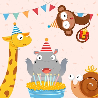 Cute animals celebrating birthday illustration