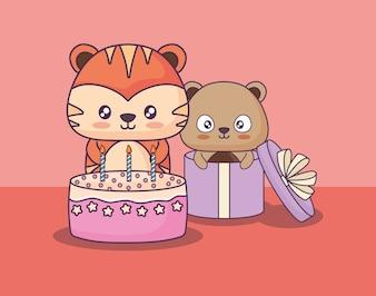 Cute animals celebrating party kawaii characters
