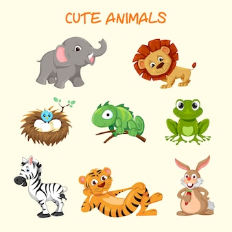 Cute animals characters collection