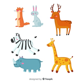 Cute animals in children's style collection