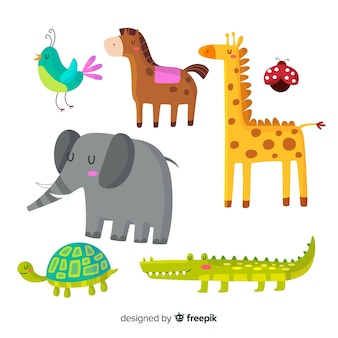 Cute animals in children's style pack Free Vector