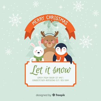 Cute animals christmas background