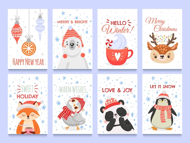 Cute animals christmas cards. vector christmas winter, holiday decoration with animals bear fox and owl illustration