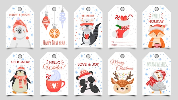 Cute animals christmas tags.