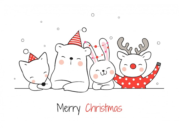 Cute animals for christmas